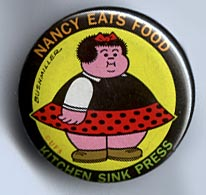 Button 128: Nancy Eats Food (Ernie Bushmiller)