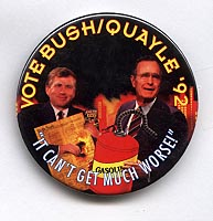 Button 160: George H. Bush & Dan Quayle set constitution on fire. #  3 of 4