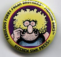 Button 205: Freak Brothers Munchie Bars [Yellow Fat Freddy] Shelton / Mavrides art