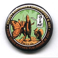 Button 230: Grasshopper & Ant: Harvey Kurtzman (Butterfly)