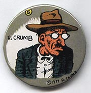 Button 083: R. Crumb self-portrait in fedora (# 5 of 11 in Crumb Series)