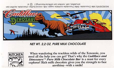 Cadillacs & Dinosaurs Candy Wrappers: T-Rex with Cadillac