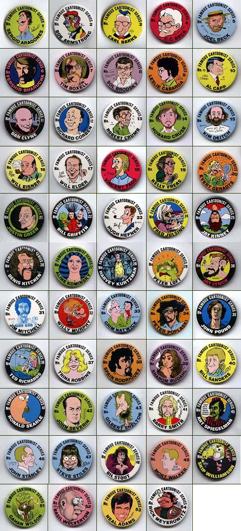 Buttons: Famous Cartoonist  Full Set of 54