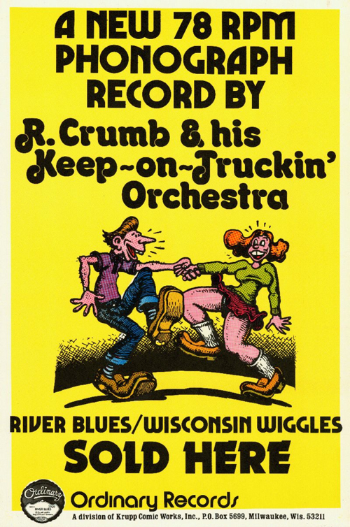 R. Crumb Ordinary Record Promo Poster 1972 (Wisconsin Wiggles / River Blues)
