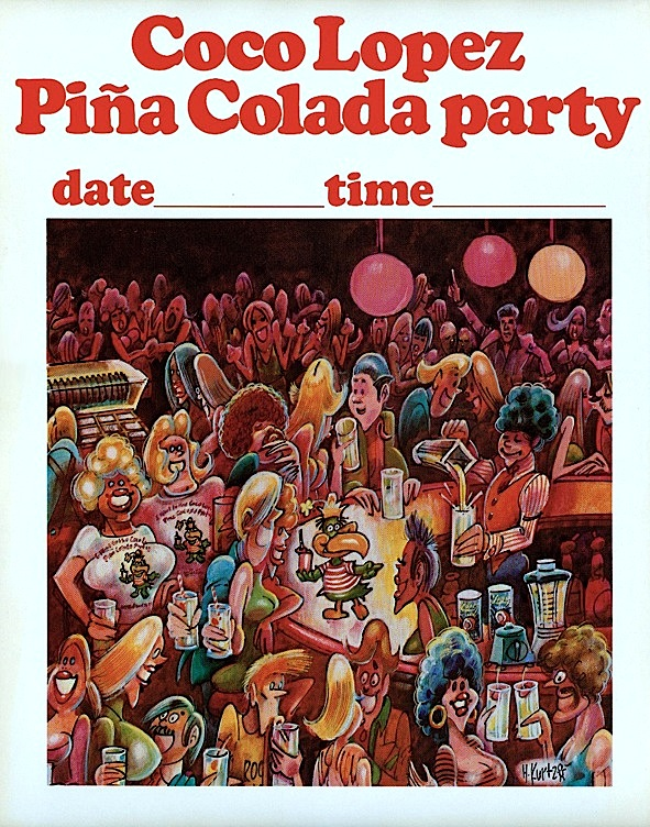 Harvey Kurtzman Coco Lopez Pina Colada party crowd scene poster (1975)